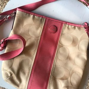 Coach Pink and Tan Crossbody Purse